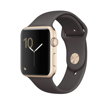 Apple WATCH Series 1 42mm/42公釐 A 金色鋁金屬錶殼 搭配可可色運動型錶帶 智慧型手錶【含錶貼+錶套+充電器】(MNNN2TA/A)
