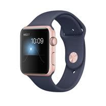 Apple Watch Series 1 42mm/42公釐 A 玫瑰金色鋁金屬錶殼 搭配午夜藍色運動型錶帶 智慧型手錶【含錶貼+錶套+充電器】(MNNM2TA/A)