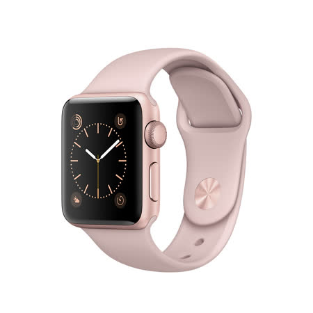 Apple Watch Series 1 38mm/38公釐 A 玫瑰金色鋁金屬錶殼 搭配粉沙色運動型錶帶 智慧型手錶【含錶貼+錶套+充電器】(MNNH2TA/A)