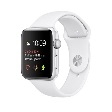 Apple Watch Series 1 42mm/42公釐 A 銀色鋁金屬錶殼 搭配白色運動型錶帶 智慧型手錶【含錶貼+錶套+充電器】(MNNL2TA/A)
