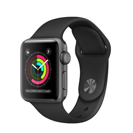 Apple Watch Series 1 38mm/38公釐 A 太空灰色鋁金屬錶殼 搭配黑色運動型錶帶 智慧型手錶【含錶貼+錶套+充電器】(MP022TA/A)