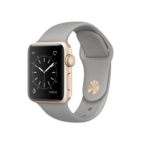 Apple Watch Series 1 38mm/38公釐 A 金色鋁金屬錶殼 搭配淡灰色運動型錶帶 智慧型手錶【含錶貼+錶套+充電器】(MNNJ2TA/A)