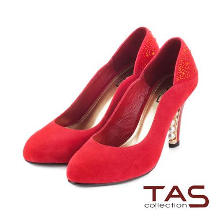 TAS 側曲線水鑽拼接後跟珍珠高跟鞋-亮眼紅