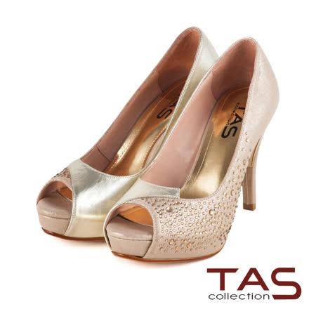 TAS 異材質華麗水鑽交叉拼接魚口高跟鞋-璀璨金