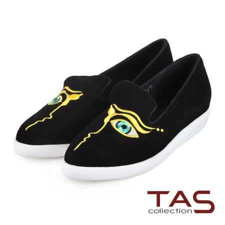 TAS 獨特造型眼睛圖騰設計麂皮slip-on懶人鞋-獨家黑