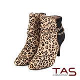 TAS 金屬鍊交叉纏繞設計豹紋馬毛高跟踝靴-豹紋棕
