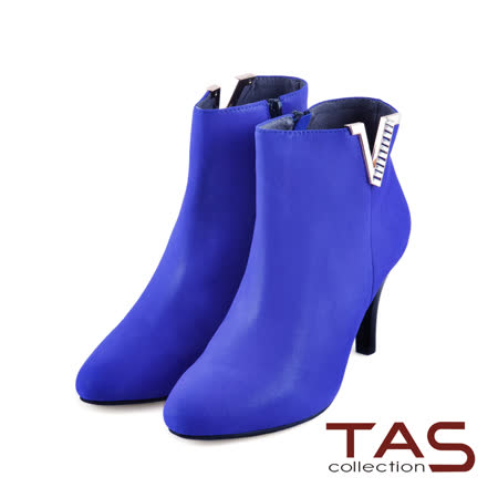 TAS 側邊小V口金屬裝飾性感高跟踝靴-寶石藍