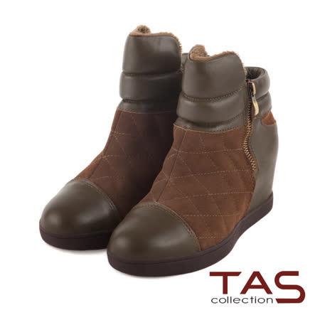 TAS 太妃Q系列 多層次質感牛皮拼接菱格紋短靴-橄欖綠