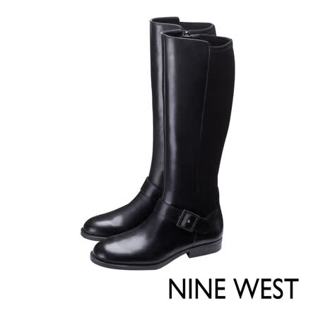 NINE WEST--俐落踝釦皮革長靴--經典黑