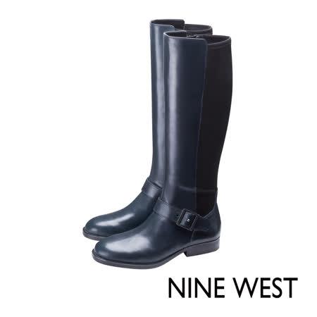 NINE WEST--俐落踝釦皮革長靴--靜謐藍