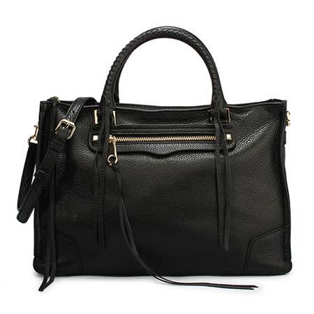 Rebecca Minkoff regan 素面皮革流蘇裝飾手提斜背兩用包-黑色