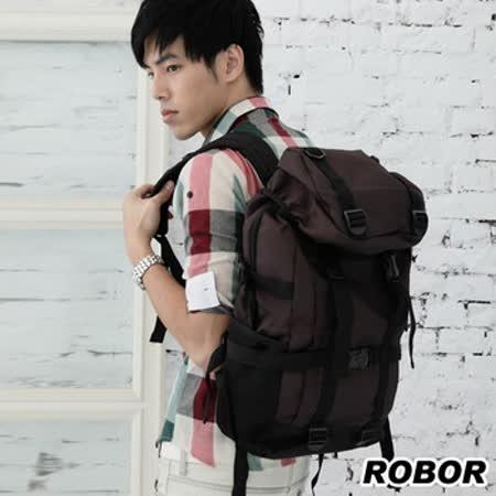 韓系型男 ROBOR陽光型男尼龍休閒包/後背包(可入14吋NB電腦)(咖色)