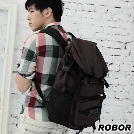 韓系型男 ROBOR韓潮雜誌款尼龍休閒包/後背包(可入14吋NB電腦)(咖色)