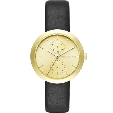 Michael Kors MK 都會時尚日曆腕錶-金x黑/38mm MK2574