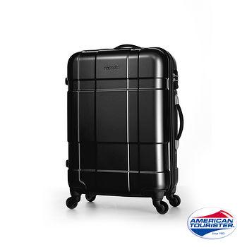 AT美國旅行者 25吋VENTURA  PC立體方格TSA硬殼四輪拉桿行李箱(碳黑)