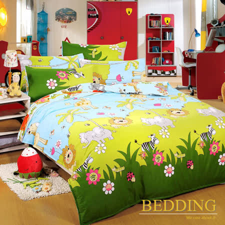 【BEDDING】活性印染單人三件式舖棉床包兩用被組-森林王國