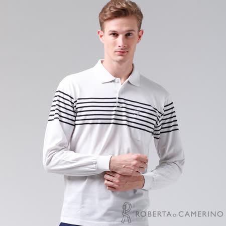 ROBERTA諾貝達 台灣製 輕柔舒適 保溫紗長袖POLO棉衫 白色