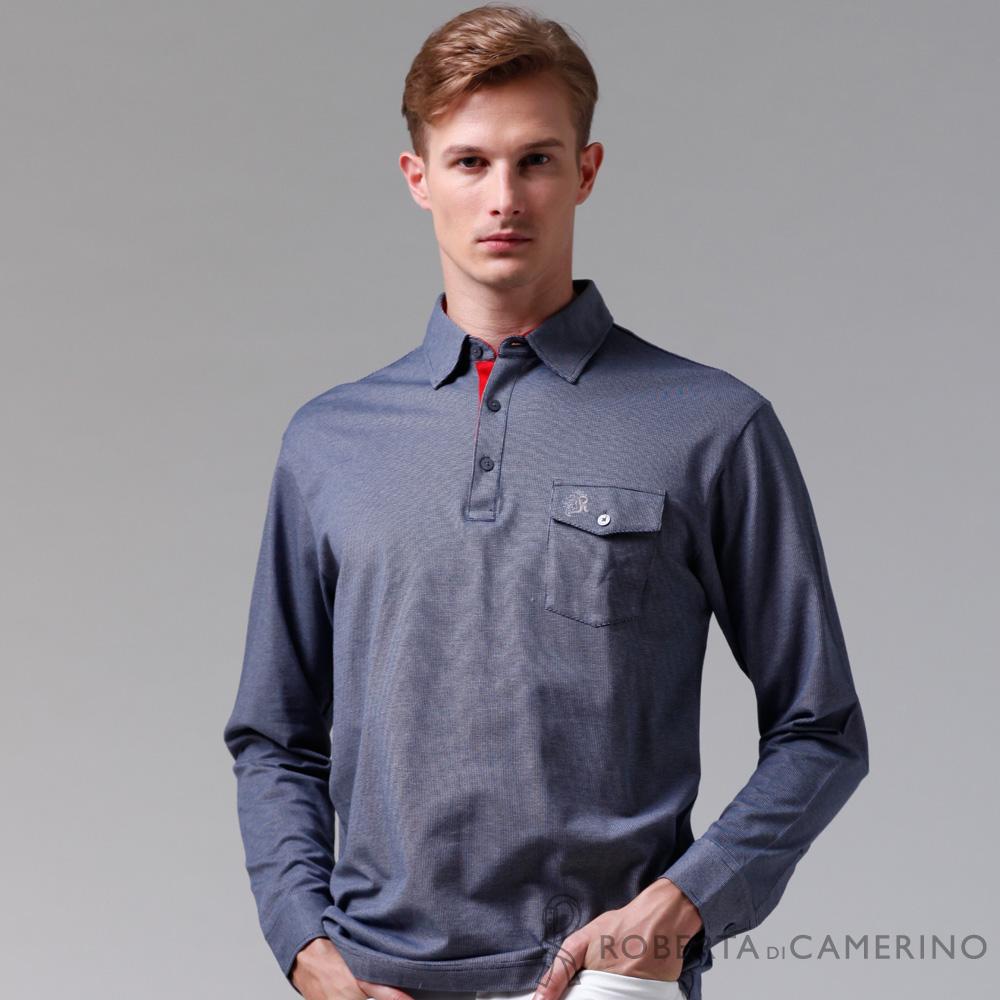 ROBERTA諾貝達 製 乾爽 保暖輕便長袖POLO棉衫 深藍