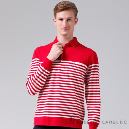 ROBERTA諾貝達 台灣製 修身版 光滑柔軟 條紋長袖POLO棉衫 紅色