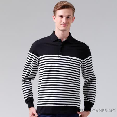 ROBERTA諾貝達 台灣製 修身版 光滑柔軟 條紋長袖POLO棉衫 黑色