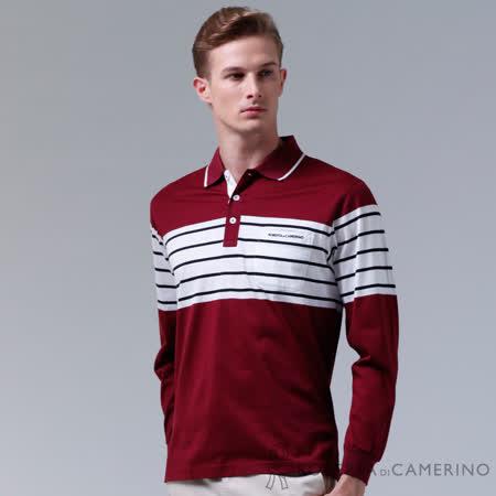 ROBERTA諾貝達 台灣製 修身版 吸溼排汗 百搭長袖POLO棉衫 暗紅