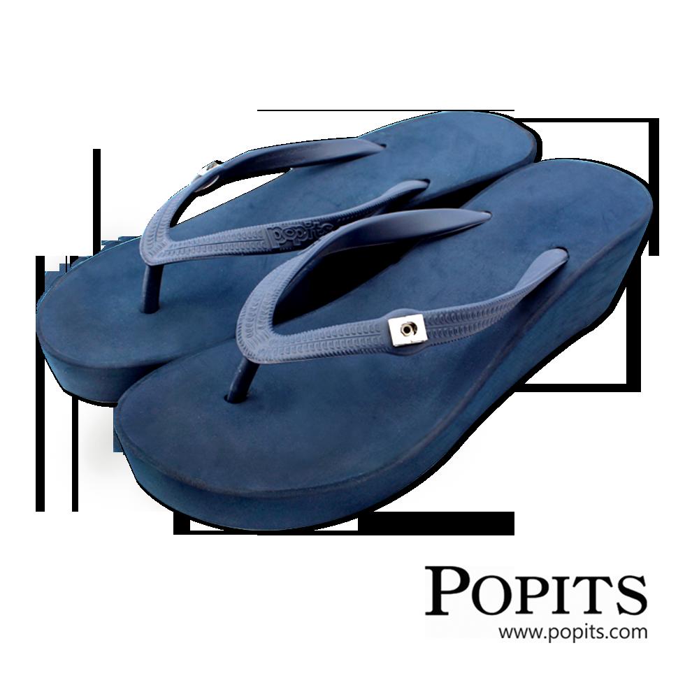 美國POPITS夏艷5公分楔形夾腳人字拖~ 藍色