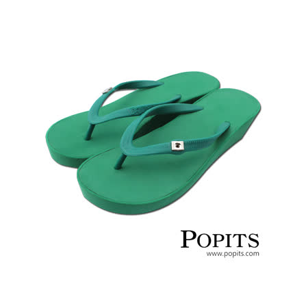 美國POPITS夏艷5公分楔形夾腳人字拖- 綠色