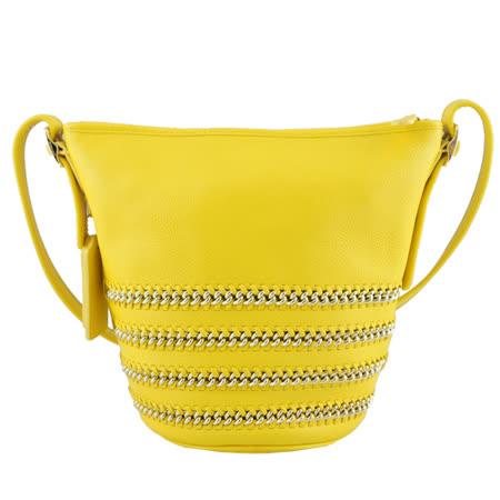 COACH 馬車壓紋素面皮革鍊飾水桶包(黃)