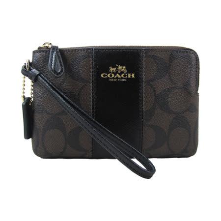 COACH送原廠提袋-經典LOGO新款PVC手拿包(深咖)