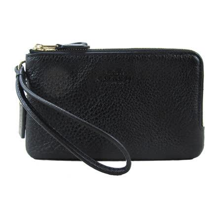 COACH 送原廠提袋- L型皮革雙拉鍊手拿手提包(黑)