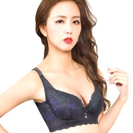 【思薇爾】慕思花影系列B-F罩蕾絲背心式包覆內衣(黑檀灰)