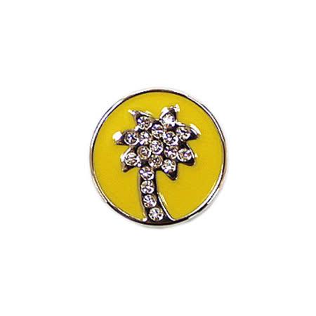 POPITS水晶椰子樹章扣飾(銀框)