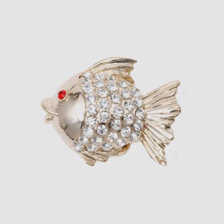 POPITS水晶金魚扣飾 - 金色
