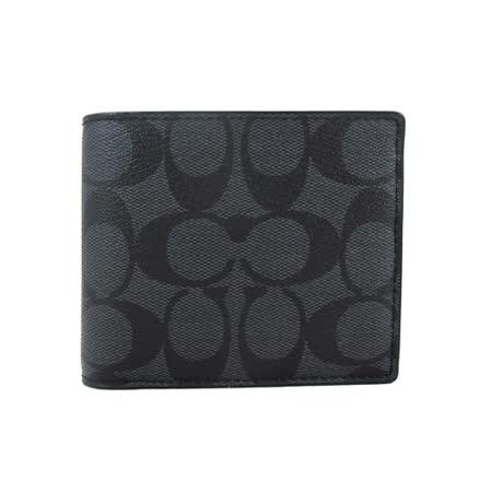 COACH PVC帥性短夾-含抽取式短夾(黑灰)