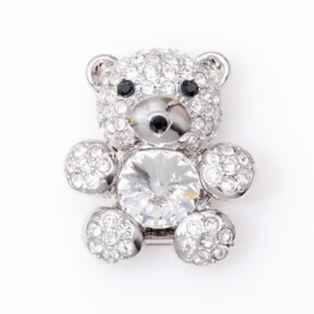 POPITS泰迪熊水晶扣飾-銀色
