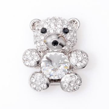 POPITS泰迪熊水晶扣飾~銀色