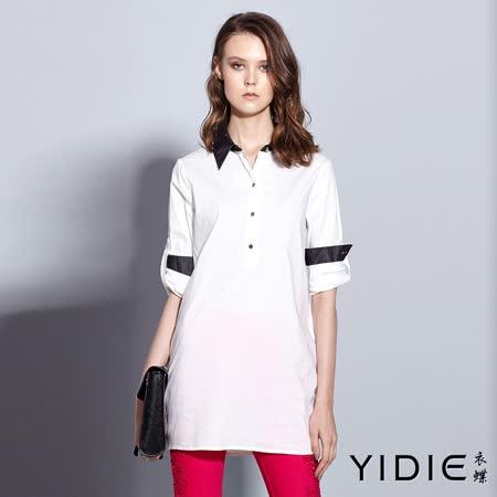 【YIDIE衣蝶】牛仔領排扣後鏤空蕾絲棉質上衣