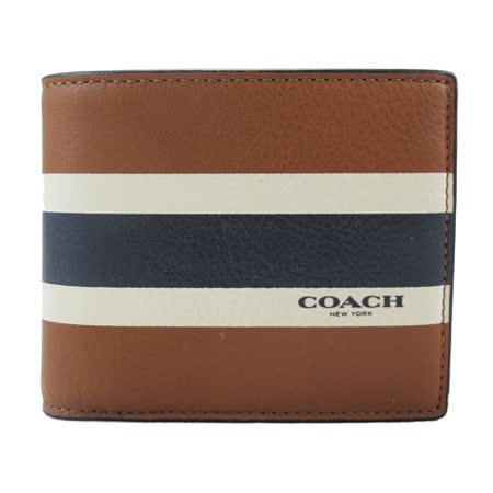 COACH新款皮革短夾-含抽取式短夾(咖啡藍白)