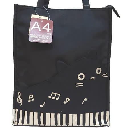 【波克貓哈日網】日系流行A4手提包◇鋼琴貓咪◇《經典黑色》