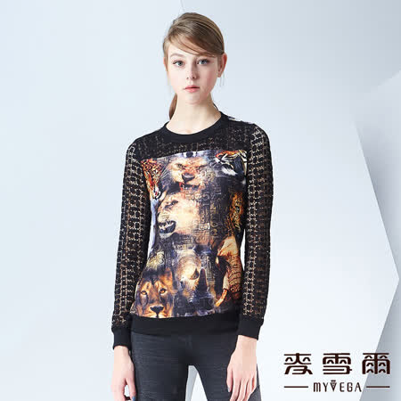【麥雪爾】圓領動物印花鏤空袖棉質上衣