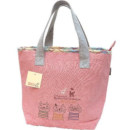 【波克貓哈日網】日系棉布手提包◇3隻貓咪◇《粉玫瑰紅色》