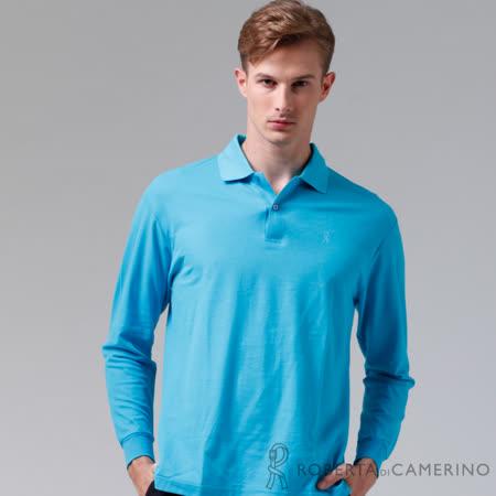 ROBERTA諾貝達 台灣製 吸溼排汗 百搭長袖POLO棉衫 水藍