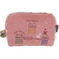 【波克貓哈日網】日系化妝包/收納包◇3隻貓咪◇《粉玫瑰紅色》