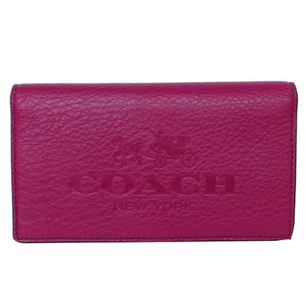 COACH馬車大Logo全皮長型萬用夾(紫紅)