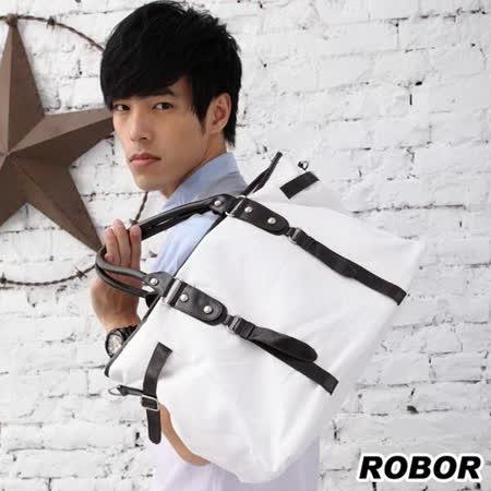 韓系型男 ROBOR淡定型男側背/手提/斜背三用包(白色)