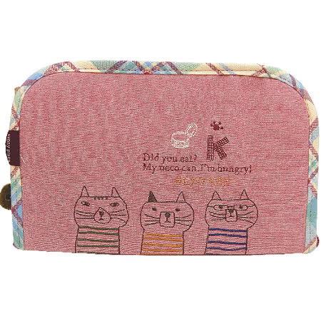 【波克貓哈日網】日系收納夾/包◇3隻貓咪◇《粉玫瑰紅色》