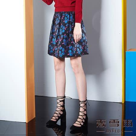 【麥雪爾】花朵滿版壓摺A字及膝裙