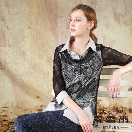 【麥雪爾】翻領縷空假兩件式長版襯衫