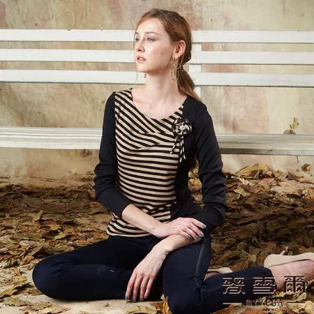 【麥雪爾】抽摺花朵飾條紋拼接棉質上衣