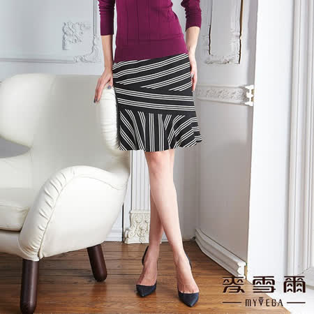 【麥雪爾】交錯棉質條紋波浪及膝裙